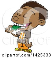 Clipart Of A Cartoon African American Boy Eating A Pickle Royalty Free Vector Illustration