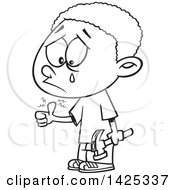 Clipart Of A Cartoon Black And White Lineart African American Boy Crying After Banging His Thumb With A Hammer Royalty Free Vector Illustration