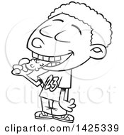 Clipart Of A Cartoon Black And White Lineart African American Boy Eating A Pickle Royalty Free Vector Illustration
