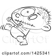 Clipart Of A Cartoon Black And White Lineart Zombie Baby Walking Royalty Free Vector Illustration
