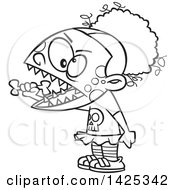 Cartoon Black And White Lineart Zombie Girl Eating A Bone