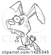 Cartoon Black And White Lineart Zombie Bunny Rabbit Walking