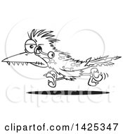 Cartoon Black And White Lineart Zombie Roadrunner Bird With An Eyeball Hanging Out