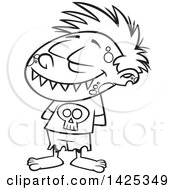 Cartoon Black And White Lineart Zombie Boy Grinning With His Hands Behind His Back