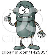 Clipart Of A Cartoon Happy Robot Giving A Thumb Up Royalty Free Vector Illustration