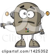 Clipart Of A Cartoon Sad Robot Giving A Thumb Down Royalty Free Vector Illustration by toonaday