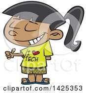 Clipart Of A Cartoon Girl Wearing An I Love Tech Shirt And Giving A Thumb Up Royalty Free Vector Illustration