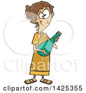 Cartoon Happy Roman Lady Holding A Jar