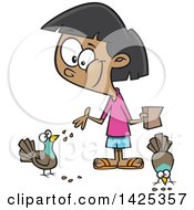 Clipart Of A Cartoon Girl Feeding Pigeon Birds Royalty Free Vector Illustration by toonaday