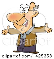 Clipart Of A Cartoon Happy Caucasian Grandpa Wanting A Hug Royalty Free Vector Illustration
