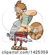 Clipart Of A Cartoon Tough Gladiator Holding A Sword And Shield Royalty Free Vector Illustration by toonaday