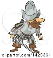Clipart Of A Cartoon Mad Conquistador Holding A Sword Royalty Free Vector Illustration