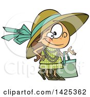 Clipart Of A Cartoon Girl Dressed Up In Heels And A Hat Royalty Free Vector Illustration