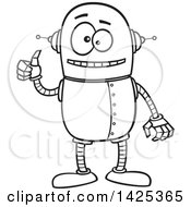 Cartoon Black And White Lineart Happy Robot Giving A Thumb Up