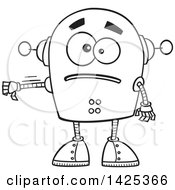 Cartoon Black And White Lineart Sad Robot Giving A Thumb Down