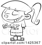 Cartoon Black And White Lineart Girl Wearing An I Love Tech Shirt And Giving A Thumb Up