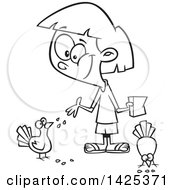 Clipart Of A Cartoon Black And White Lineart Girl Feeding Pigeon Birds Royalty Free Vector Illustration