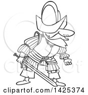 Clipart Of A Cartoon Black And White Lineart Mad Conquistador Holding A Sword Royalty Free Vector Illustration by toonaday