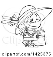 Cartoon Black And White Lineart Girl Dressed Up In Heels And A Hat