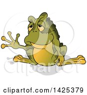 Clipart Of A Cartoon Toad Frog Waving Royalty Free Vector Illustration by dero