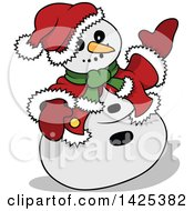 Clipart Of A Cartoon Festive Christmas Snowman Presenting Royalty Free Vector Illustration