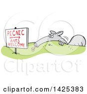 Clipart Of A Cartoon Anteater Hiding Behind A Picnic Ants Welcome Sign Royalty Free Vector Illustration