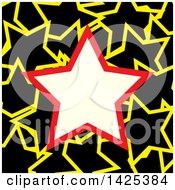 Red And Beige Star Frame Over A Pattern Of Black And Yellow Stars