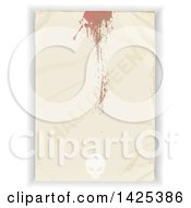 Clipart Of A Crumpled Piece Of Paper With Blood Splatters Halloween Text And A Skull Over Shaded White Royalty Free Vector Illustration