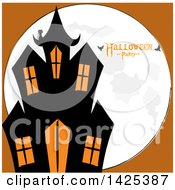 Black Cat On The Roof Of A Haunted House Over A Full Moon With Bats And Halloween Party Text On Orange