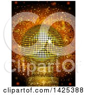 Clipart Of A 3d Golden Disco Ball On A Sparkly Stand Over Tiles Royalty Free Vector Illustration