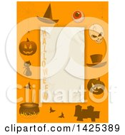 Orange Border With A Witch Hat Eyeball Skull Top Hat Jackolantern Pumpkins Tombstones Bats A Cat And Witch Cauldron Around Text Space With HALLOWEEN