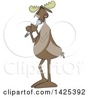 Clipart Of A Cartoon Moose Vocalist Singing Into A Microphone Royalty Free Vector Illustration by djart