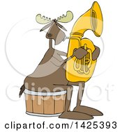 Clipart Of A Cartoon Moose Playing A Tuba Royalty Free Vector Illustration