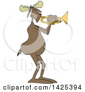 Clipart Of A Cartoon Moose Playing A Trumpet Royalty Free Vector Illustration