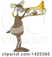 Clipart Of A Cartoon Moose Playing A Trombone Royalty Free Vector Illustration by djart