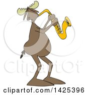Clipart Of A Cartoon Moose Playing A Saxophone Royalty Free Vector Illustration
