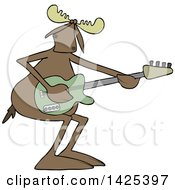 Clipart Of A Cartoon Moose Playing An Electric Guitar Royalty Free Vector Illustration