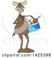 Clipart Of A Cartoon Moose Playing A Drum Royalty Free Vector Illustration