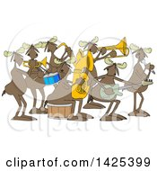 Clipart Of A Cartoon Moose Band Playing Instruments And Singing Royalty Free Vector Illustration by djart