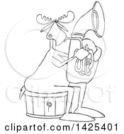 Clipart Of A Cartoon Black And White Lineart Moose Playing A Tuba Royalty Free Vector Illustration