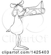 Clipart Of A Cartoon Black And White Lineart Moose Playing A Trombone Royalty Free Vector Illustration by djart