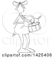 Clipart Of A Cartoon Black And White Lineart Moose Playing A Drum Royalty Free Vector Illustration
