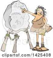 Cartoon Cave Woman Teacher Pointing To A Boulder With Drawings