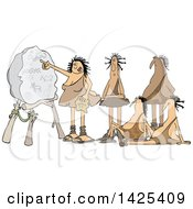 Clipart Of A Cartoon Cave Woman Teacher And Men Learning Royalty Free Vector Illustration