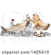 Clipart Of A Cartoon Cave Woman Holding A Drink Laying On Boulders Nad Getting Her Hair Done Royalty Free Vector Illustration