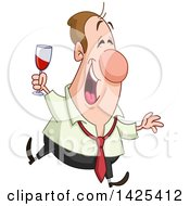 Clipart Of A Cartoon Happy Drunk Caucasian Business Man Holding A Wine Glass At A Party Royalty Free Vector Illustration by yayayoyo