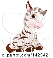 Clipart Of A Cute Adorable Baby Zebra Sitting Royalty Free Vector Illustration by Pushkin