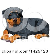 Clipart Of A Cute Rottweiler Dog Resting Royalty Free Vector Illustration by Pushkin