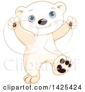 Clipart Of A Cute Adorable Baby Polar Bear Cub Dancing Royalty Free Vector Illustration by Pushkin