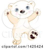Poster, Art Print Of Cute Adorable Baby Polar Bear Cub Dancing